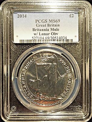 *2014 UK Britannia Lunar Mule £2 Silver 1oz PCGS MS69 Mule Error RARE-POP 16*