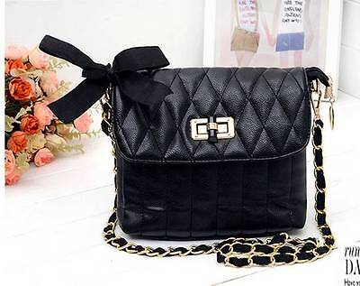 Quilted  Women Leather Messenger Crossbody Chain Shoulder Bag Handbag Black New