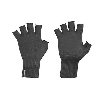Kathmandu Polypro Thermal Knitted Warm Winter Fingerless Gloves in Black