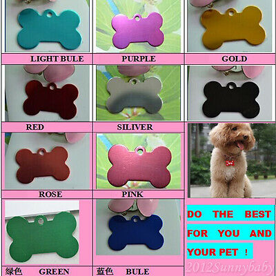 For Engraved Cute Pet ID Tags for Dogs and Cats / Bone Shape Dog Tag 9 Colors