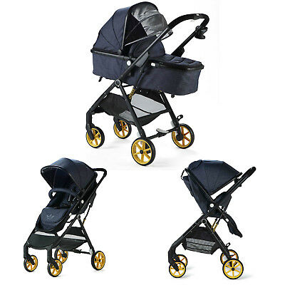 Allis Baby Pram Pushchair Travel System 2in 1 Buggy - Denim
