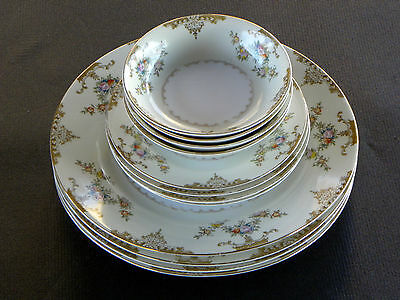 12 PIECE SET - MEITO  CHINA - PATTERN V2069 * HAND PAINTED (4) 3 PIECE SETTINGS