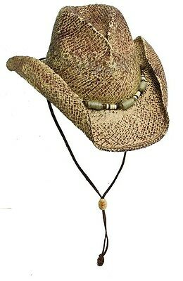 BCB Kenny Chesney Distressed Pinch Front Cowboy Hat with Jute Bead Band