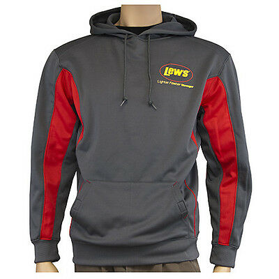 Lew's® Lews Moisture Wicking Charcoal and Red Hooded Sweatshirt X Large NEW