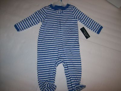 Organic Cotton Baby Boy Full Zip Footed Blue Striped Romper Size 0-3 Month NEW