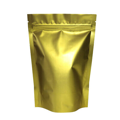 "100 Full Gold Color Mylar Zip Lock Stand Up Bags Pouches Multi-Purpose (4.7x7"")"