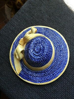 VINTAGE SEYMOUR MANN HAND CRAFTED & PAINTED BLUE YELLOW STRAW HAT WALL ART ITALY