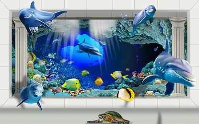 3D Underwater World Palace Roman Cols Full Wall Mural Wallpaper Home Decal Decor