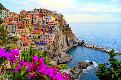 Manarola Village Cinque Terre Coast 3D Full Wall Mural Wallpaper Home Decal Deco