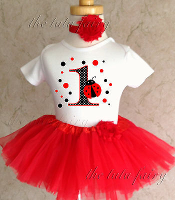 d6fdd148a Polka Dots Red Ladybug Lady bug 1st First Birthday Tutu Outfit Shirt Set  Party
