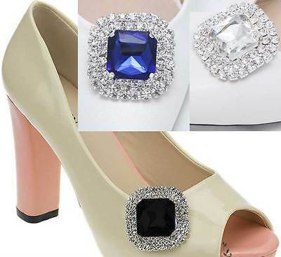 A Pair of Colourful Acrylic Rhinestone Crystal Wedding Bridal Shoe Clips