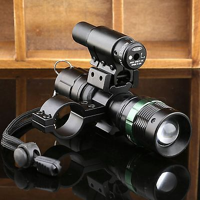Tactical CREE ZOOM 7W LED Torch Flashlight Red Dot Laser Sight Scope Mount Ring