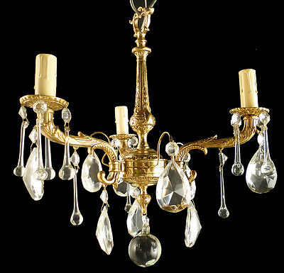 Antique french Louis XV style bronce and glass chandelier Polished again 1950
