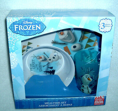 Disney FROZEN Olaf 3 PIECE MEALTIME SET Bowl Plate Glass ~ NIB