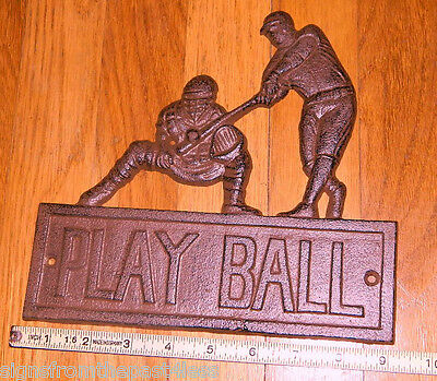 "9"" Rustic Cast Iron Baseball Wall Plaque Sign ""PLAY BALL"""