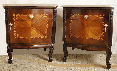 Ant French style pair nightstands Mahogany wood Original marqueterie Marble
