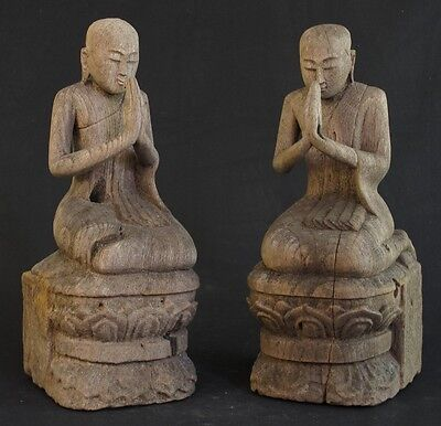 Antique Set of Monk Statues for Sale from Burma