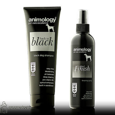 Animology Back to Black Dog Shampoo and Gloss Finish Finishing Spray Set