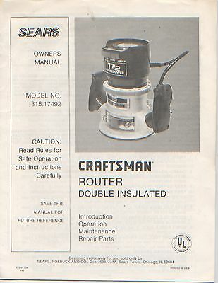 Craftsman Router 315.17492 Instruction Manual Parts