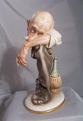 Giuseppe Cappe Abstract Capodimonte Homeless Drunk Old Man Figurine