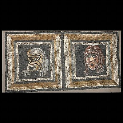 Aphrodite- Ancient Roman Mosaic Of Two Theatrical Masks