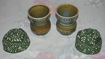 2 Vintage Wade Irish Porcelain Toothpick Holders with Covers Cozies