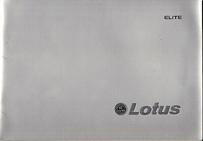Lotus Elite 1976-80 UK Market Prestige Sales Brochure 501 502 503 504