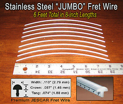 6ft Jescar JUMBO STAINLESS STEEL Frets/Fret Wire for Guitar, Bass&More! 10-09-03