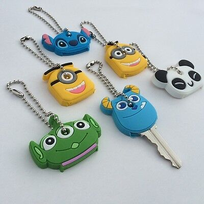 Cute Cartoon Silicone Key Ring Cap Soft Covers Keychain Keyring Set of 6