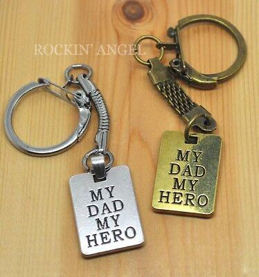 2 My dad my hero charms antique silver tone M603