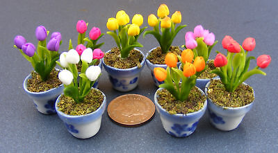 1:12 Scale Bunch Of Tulip Flowers In Ceramic Pot Tumdee Dolls House Miniature ML