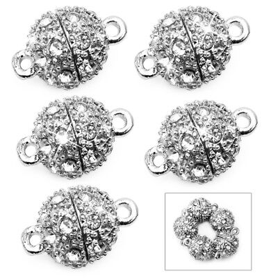 5 X Silver Round Ball Rhinestone Magnetic Clasp Findings 10mm Jewelery Making