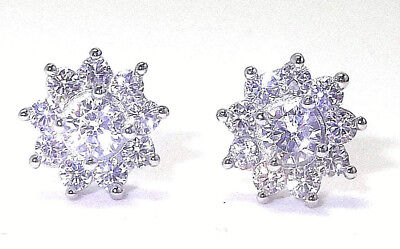 Solid 925 Hallmarked Sterling Silver Brilliant Cut Cluster Stud Earrings - 9Mm