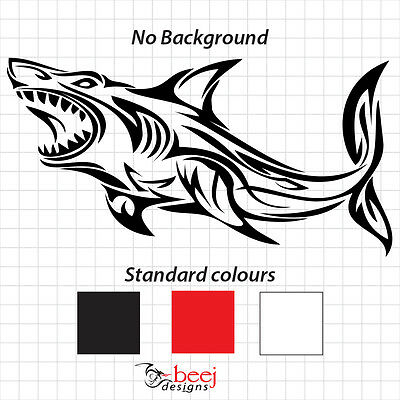 Shark Tribal Sticker 580 x 295mm Boat Decal  Fishing Rod lure Tackle Reel Ocean