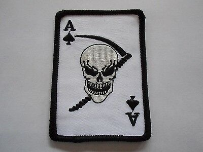 """New U.S. Ace of Spades Death Skull Military Shoulder Patch 4"""" x 2.5"""""""
