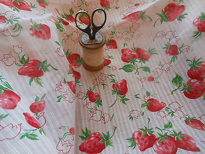 Antique Vintage Strawberry Posies Dimity Cotton Fabric ~ dolls curtains blouse