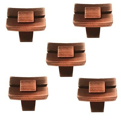 5Pcs Square Old Brass Shape Pull Knob Door Cabinet Cupboard Drawer Pull Handle