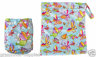 Reusable Modern Cloth Nappies Diaper Modern MCN - Butterfly Nappy & Wet Bag