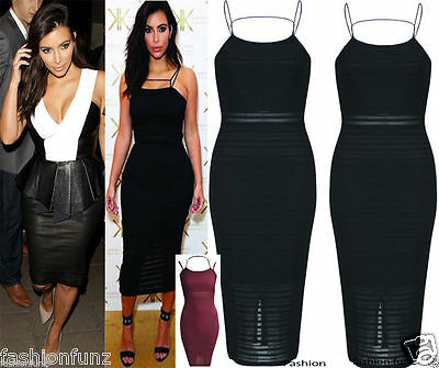 New Womens Ladies Celebs Inspired Strappy Bodycon Ribbed Burnout Midi Dress 8-14