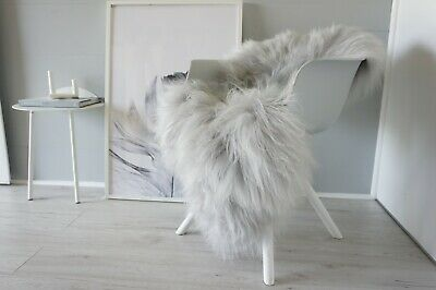 Genuine Single Icelandic Sheepskin Rug - Silver  Grey Color Super Soft Long Wool