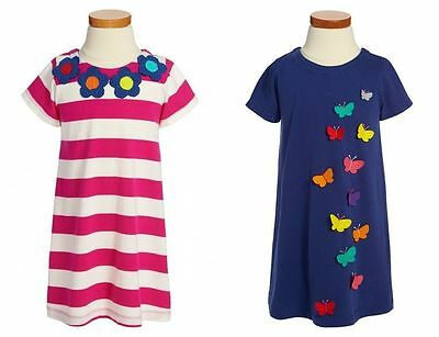 Boden Girls Cute Applique Dress Butterfly Or Flowers  Ages 1-12  Bnwot