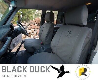 Mitsubishi Triton MN Black Duck Canvas Seat Covers Set Pair Front Rider Fitted