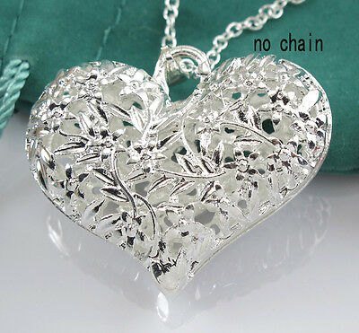 Hollow Silver Pendant Necklace Flower Heart Type And Exquisite Gift