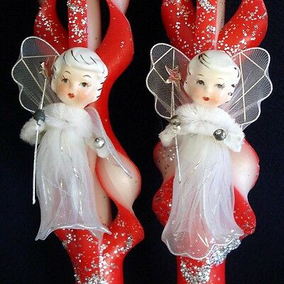 1960s Tulle Porcelain Angels on Red Christmas Candles