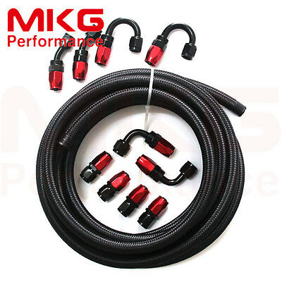 AN6 6AN Stainless Steel Nylon Braided Oil Fuel Line+Fitting Hose End Adaptor Kit