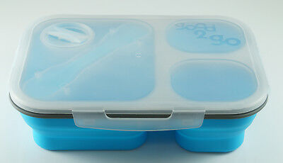 JWP Expanding Three Section 1.5L Lunch Box Container Blue School Work Picnic