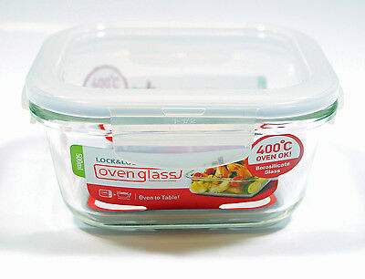 Lock & Lock 500ml Square Glass Storage Container Oven Tableware Dish Microwave