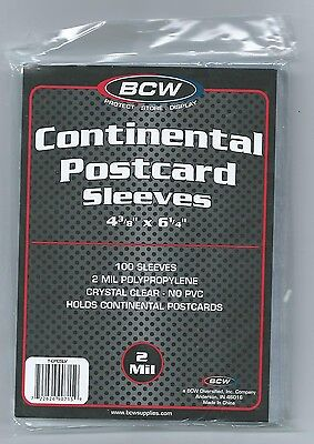 "100 BCW Postcard Sleeves 4 3/8"" x 6 1/4"" Continental / Modern Photo Storage etc"