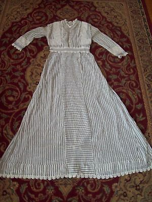 GREAT Vintage Striped Dress Late 1800/Early 1900 Long Lace/Cotton