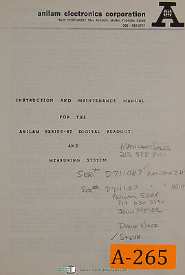 Anilam BT Series, DRO & Measuring System, Instruction & Maintenance Manual 1977